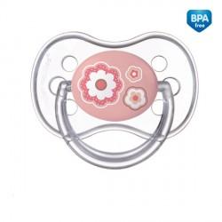 22/580_pin Šidítko 0-6m silikonové symetrické NEWBORN BABY růžové