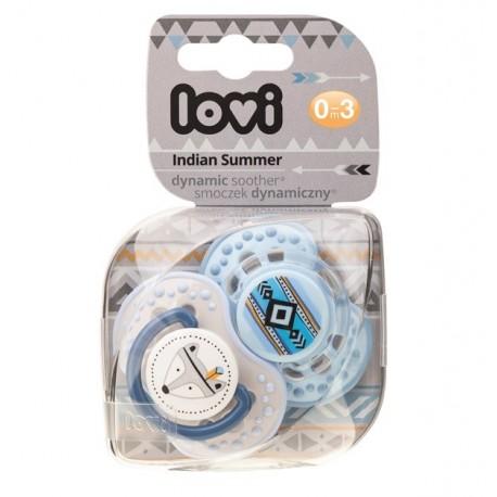 LOVI Dudlík 0-3m silikonový dynamický Indian summer 2ks