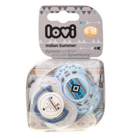 LOVI Dudlík 6-18m silikonový dynamický Indian summer 2ks