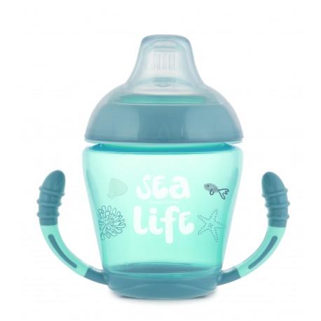 Canpol babies Nevylévací hrníček se silikonovým ventilem 230 ml SEA LIFE  56/501_grey