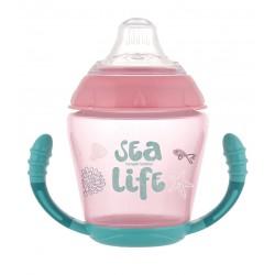 Canpol babies Nevylévací hrníček se silikonovým ventilem 230 ml SEA LIFE růžový  56/501_pin