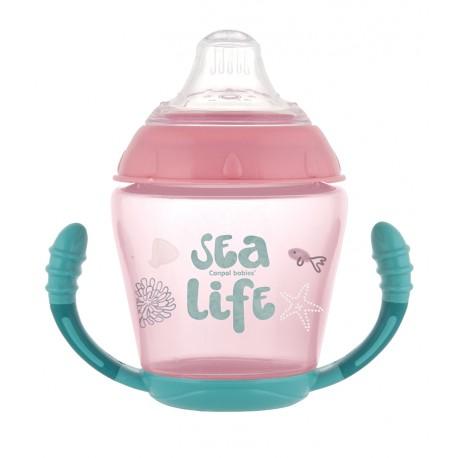 Canpol babies Nevylévací hrníček se silikonovým ventilem 230 ml SEA LIFE růžový  Canpol 56/501_PIN