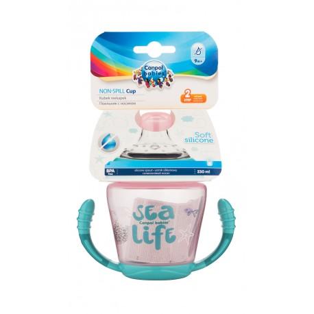 Canpol babies Nevylévací hrníček se silikonovým ventilem 230 ml SEA LIFE růžový