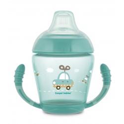 Canpol babies Nevylévací hrníček se silikonovým ventilem 230 ml TOYS tyrkysový 56/502_tur