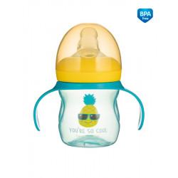 Canpol babies Tréninkový hrníček se silikonovým pítkem a úchyty SO COOL Ananas 150 ml