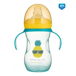 Canpol babies Tréninkový hrníček se silikonovým pítkem a úchyty SO COOL Ananas 270 ml