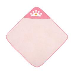 Canpol babies Měkká osuška s kapucí 85x85cm ROYAL BABY růžová