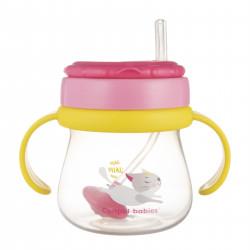 Canpol babies Hrníček sportovní se slámkou a závažím 250ml růžový