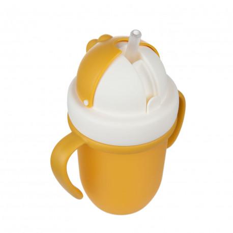 Canpol babies hrníček se silikonovou slámkou 210ml MATT žlutý