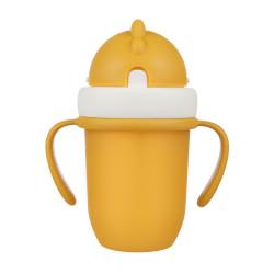 Canpol babies Hrneček se silikonovou slámkou MATT 210ml žlutý