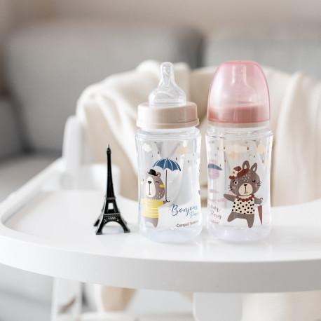 Canpol babies Lahev se širokým hrdlem BONJOUR PARIS 240ml růžová