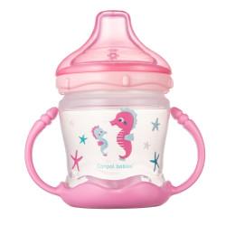 Canpol babies Nevylévací hrníček se silikonovým pítkem LOVE&SEA 180ml růžový