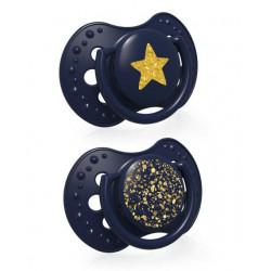 LOVI Dudlík silikonový dynamický Stardust 3-6m 2ks modrý