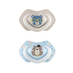 Canpol babies Set symetrických silikonových dudlíků Light touch 6-18m BONJOUR PARIS modrý