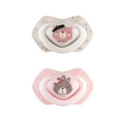 Canpol babies Set symetrických silikonových dudlíků Light touch 18m+ BONJOUR PARIS růžový