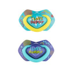 Canpol babies set symetrických silikonových dudlíků 6-18m NEON LOVE modrý
