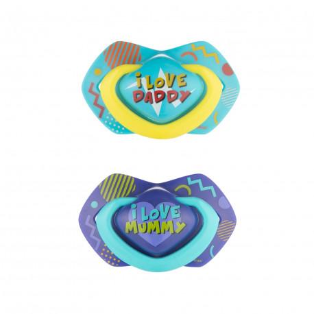 Canpol babies set symetrických silikonových dudlíků 18m+ NEON LOVE modrý