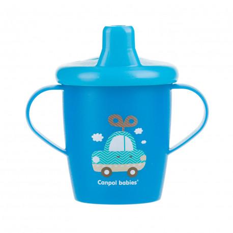 Canpol babies Nevylévací hrníček TOYS 250ml modrý