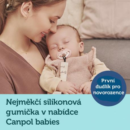 Canpol babies Set symetrických silikonových dudlíků Light touch 0-6m BONJOUR PARIS růžový