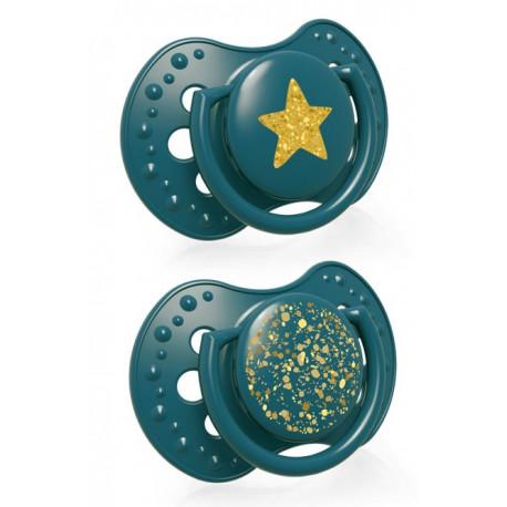 LOVI Dudlík silikonový dynamický STARDUST 0-3m 2ks zelený